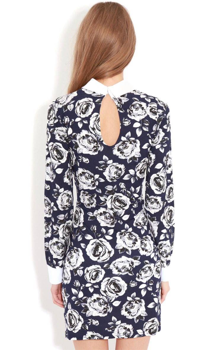 Demi Navy Floral Collar Dress 2