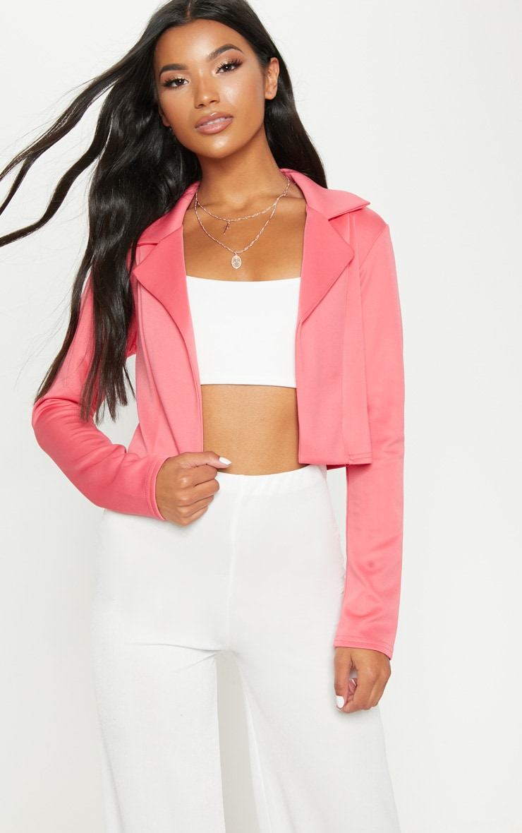 Coral Cropped Blazer by Prettylittlething