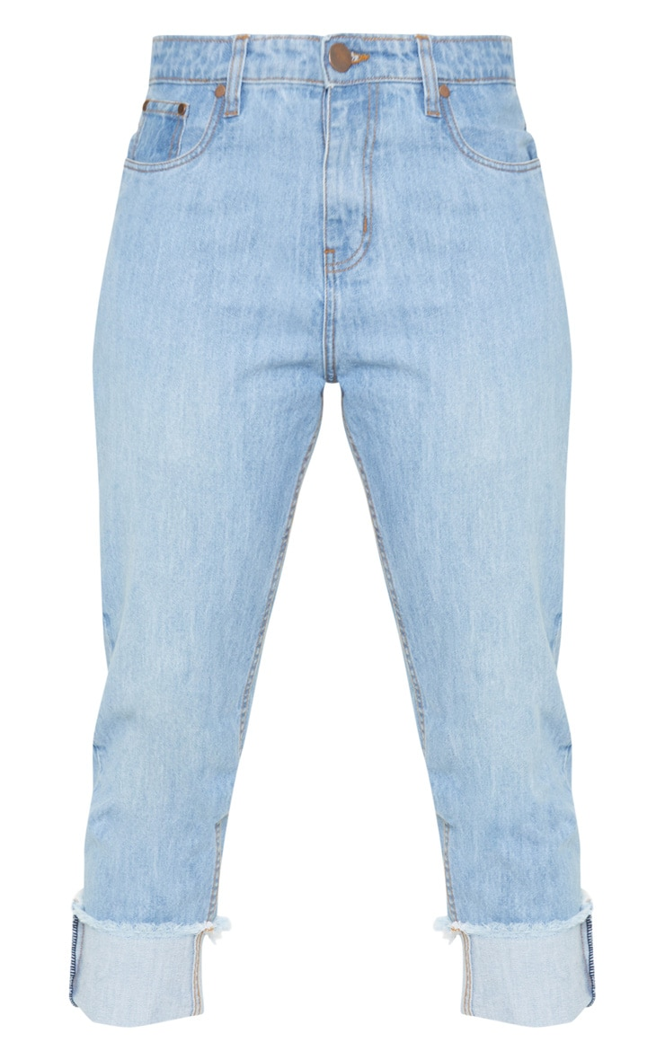 Tall Light Wash Cropped Turn Up Mom Jeans 3