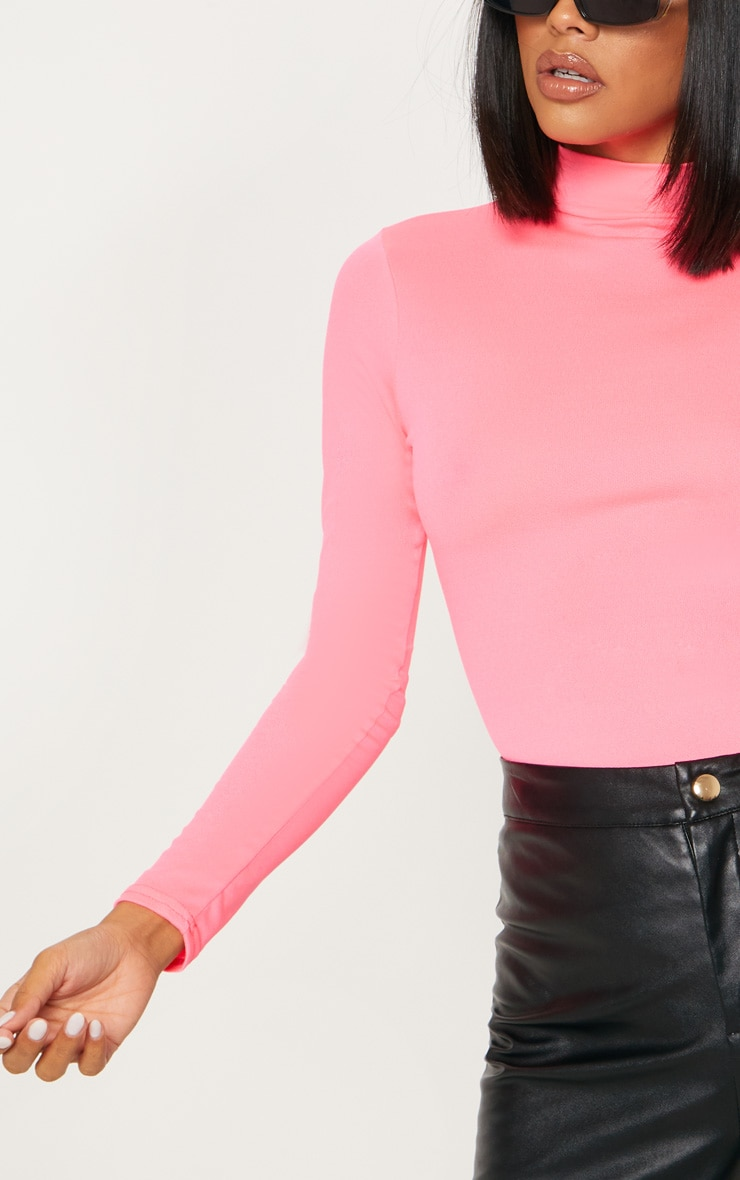 Neon Pink High Neck Jersey Long Sleeve Bodysuit  6