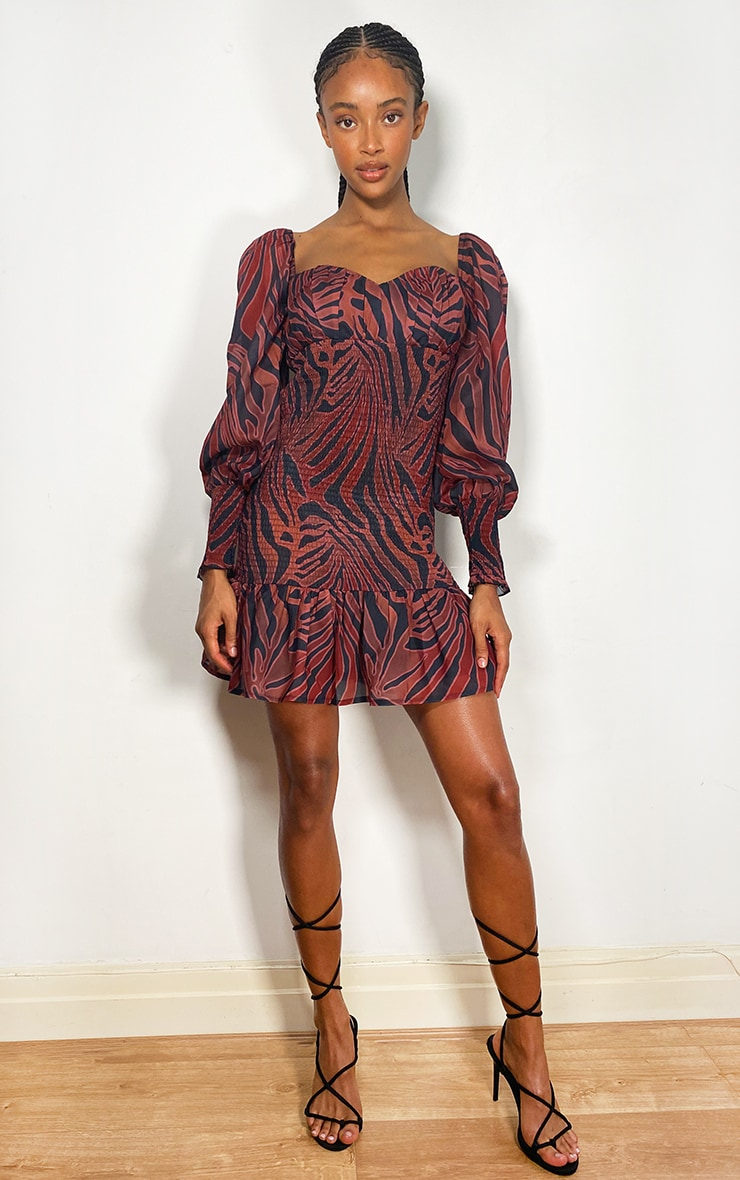 Rust Zebra Print Chiffon Shirred Long Sleeve Frill Hem Bodycon Dress 3