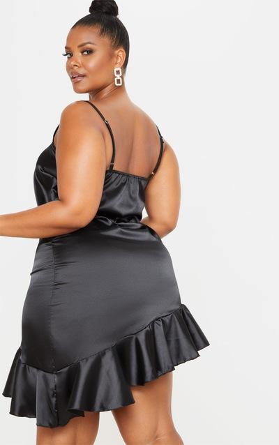 Plus Black Satin Frill Detail Cami Dress