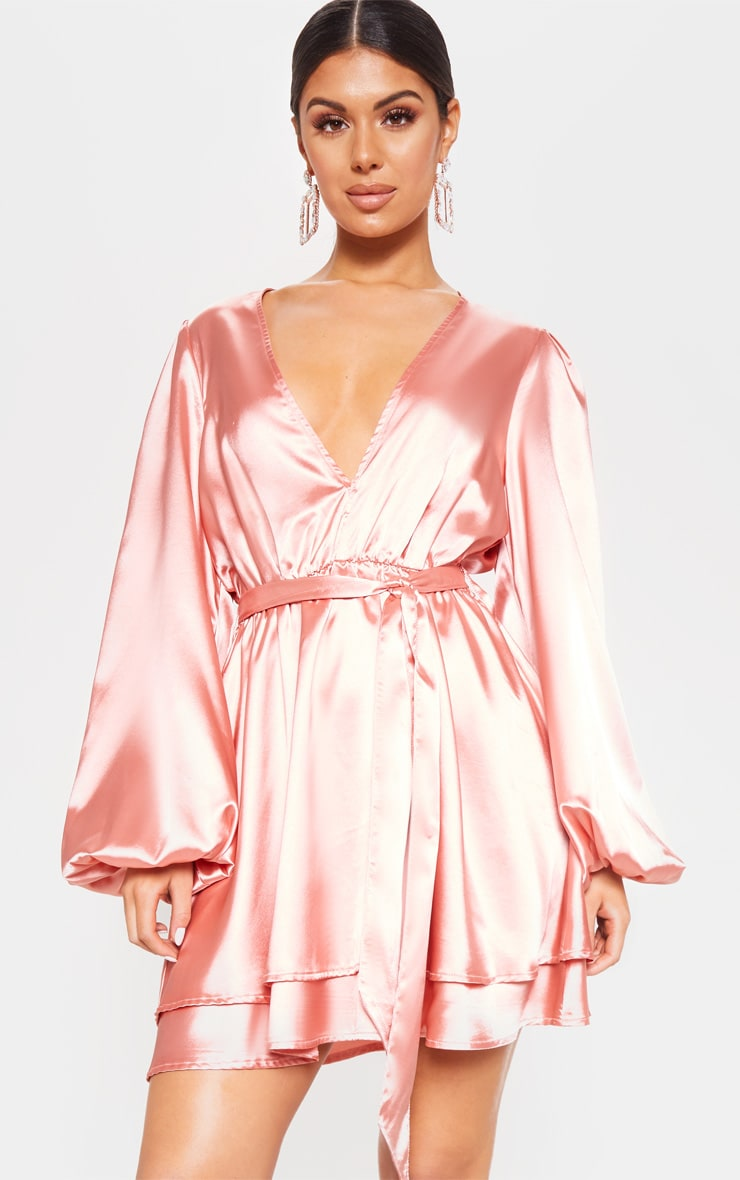 Rose Satin Balloon Sleeve Shift Dress 4