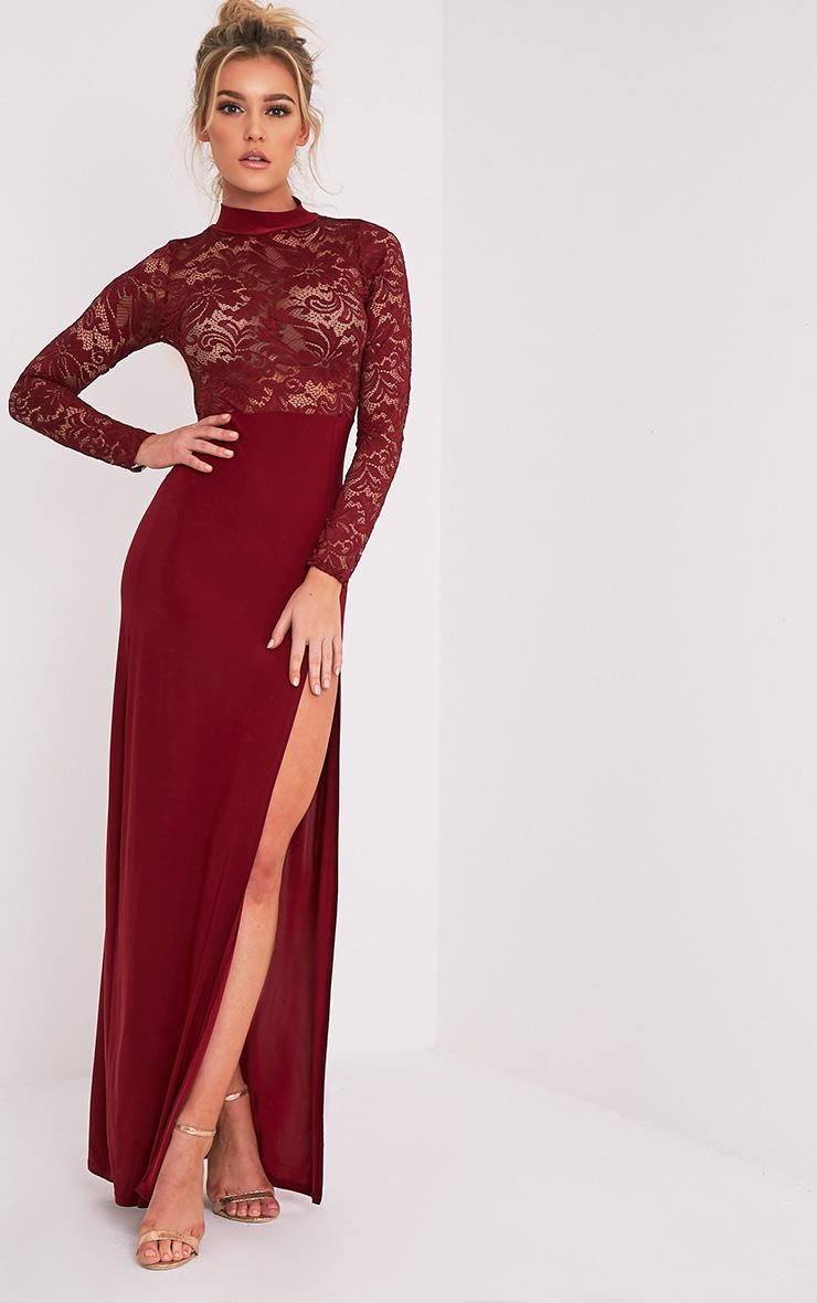 Maisie robe maxi fendue sur le côté à top en dentelle sang de bœuf 5