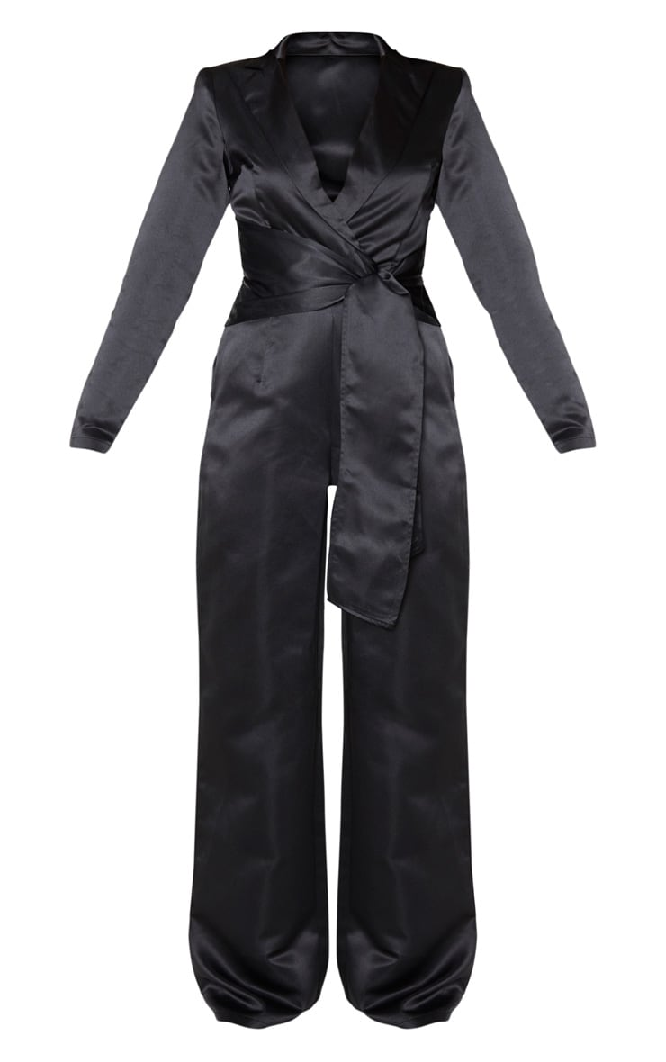 Black Wrap Detail Blazer Jumpsuit 5