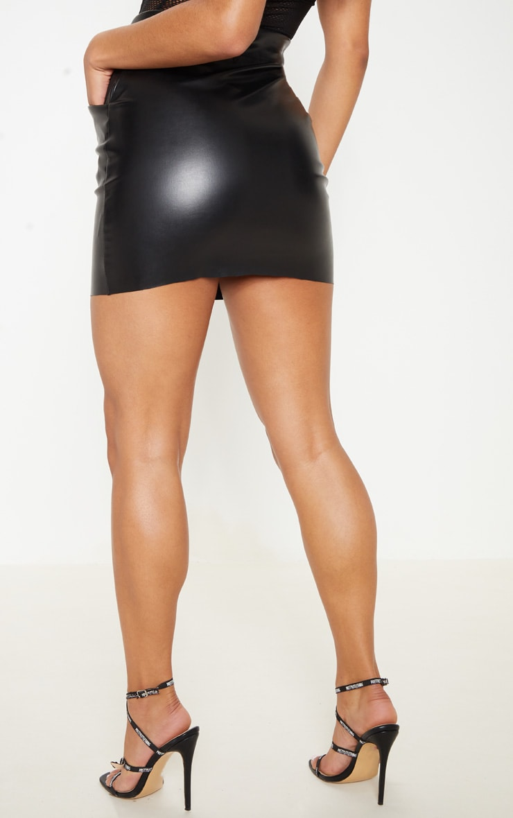 Black Pocket Detail Faux Leather Mini Skirt 4