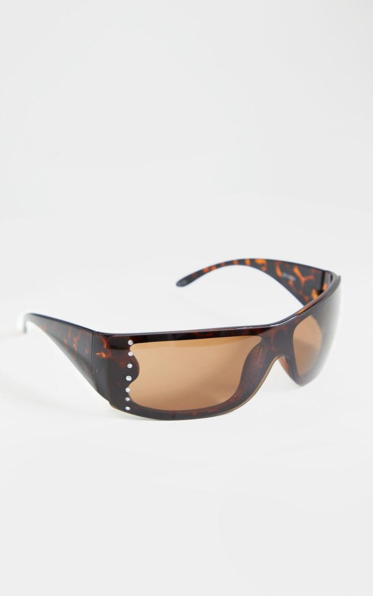 Brown Square Frame Side Stud Sunglasses 2