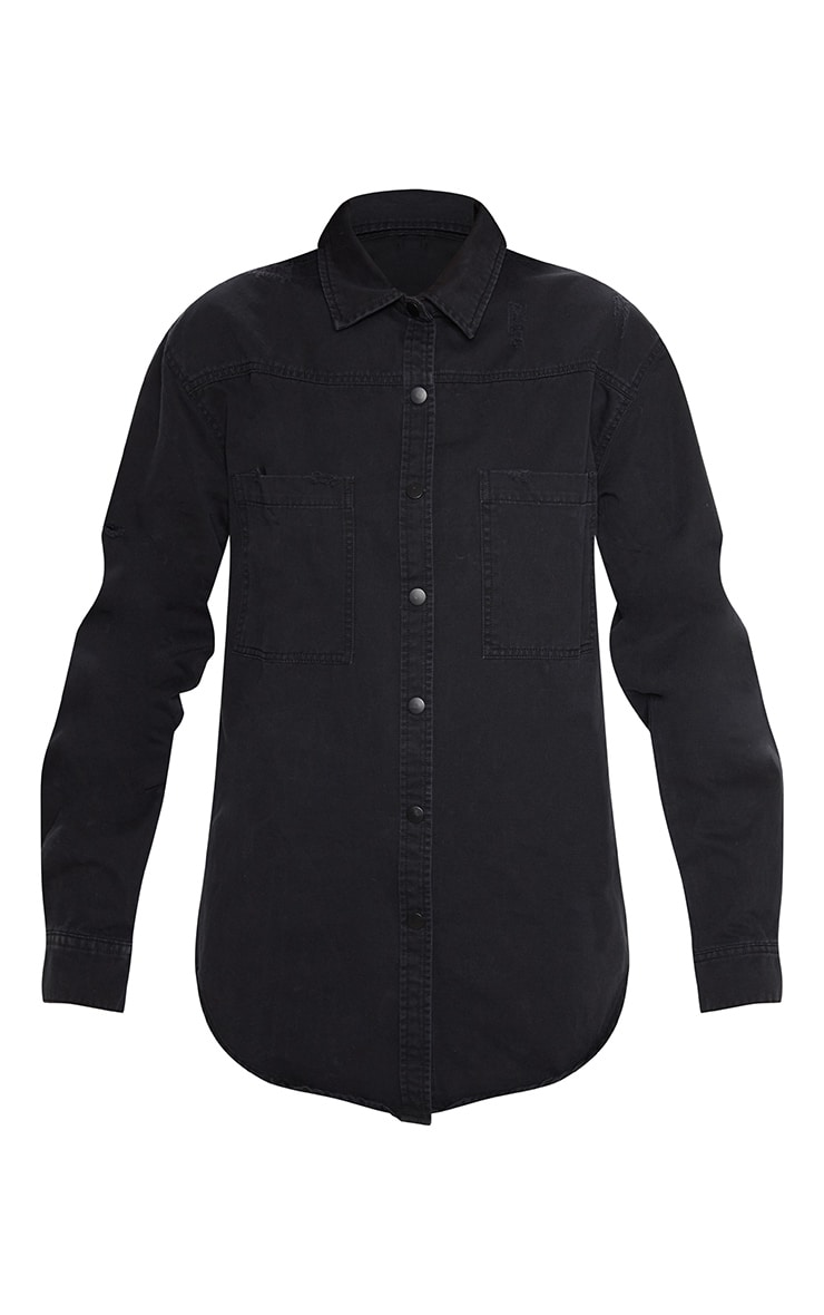 Black Oversized Lightweight Denim Shirt 2