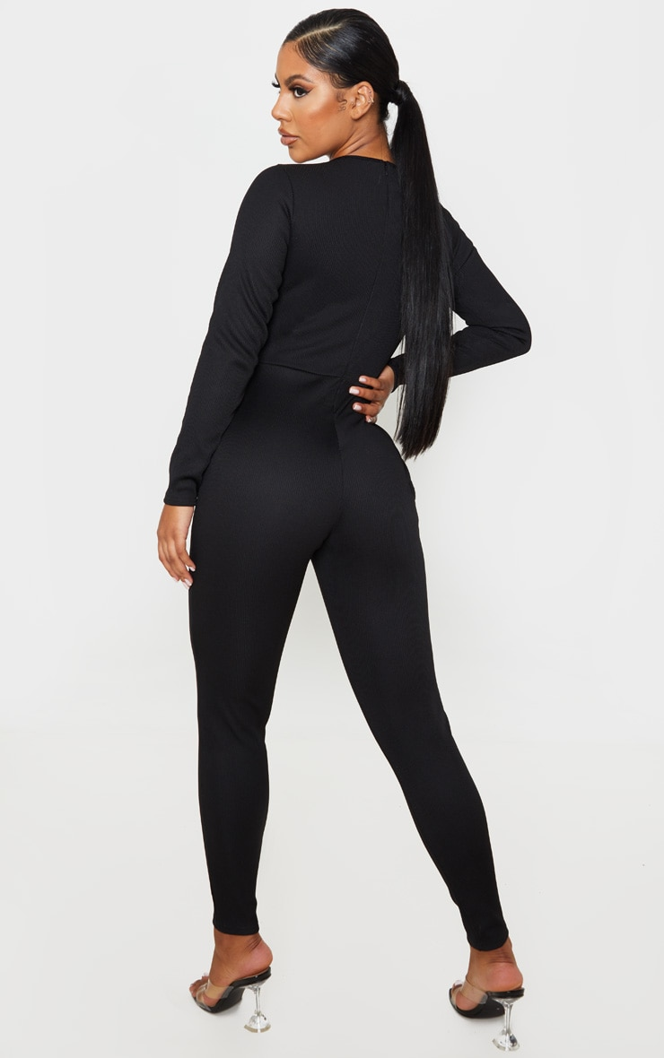 Black Long Sleeve Ribbed Piping Detail Jumpsuit 2