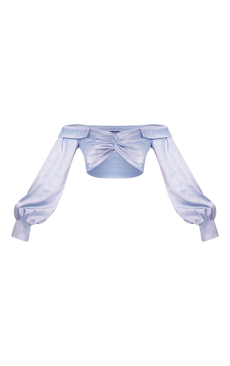 Light Blue Heavy Satin Bardot Twist Front Cropped Shirt 5