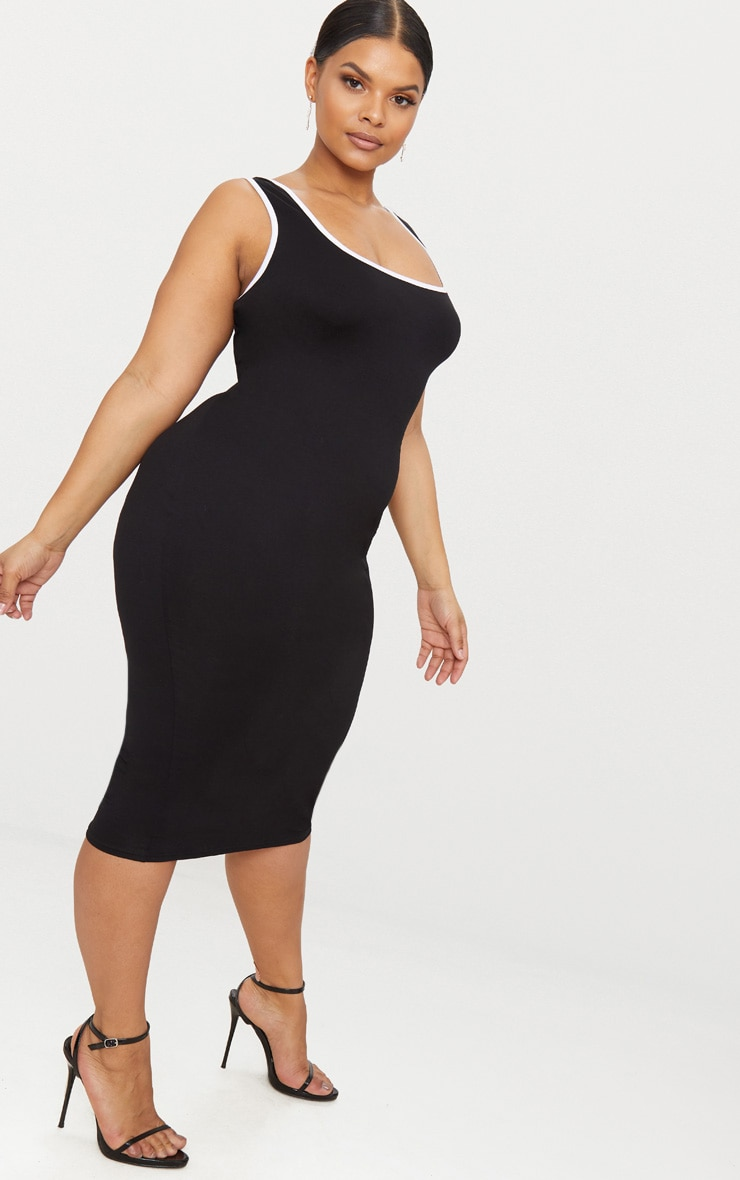 Plus Black Contrast Square Neck Midi Dress 4