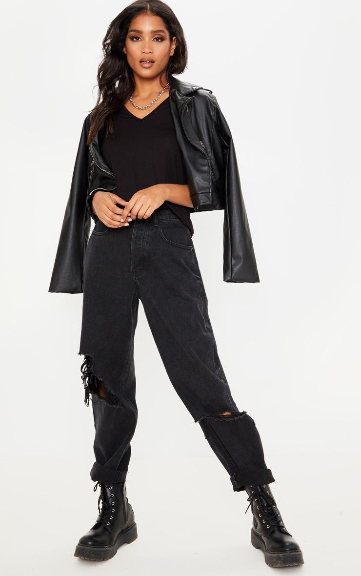 Black Basic V Neck T Shirt 2 Pack 4