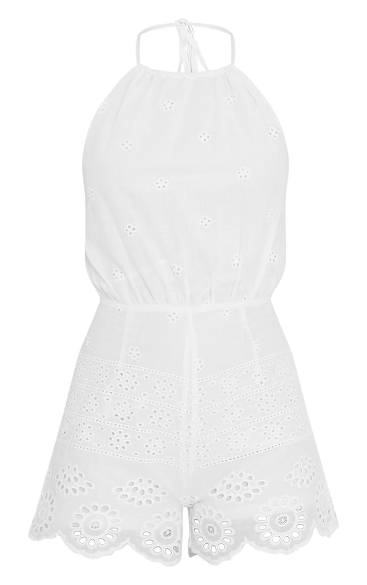 White Broderie Anglaise Halterneck Playsuit 5