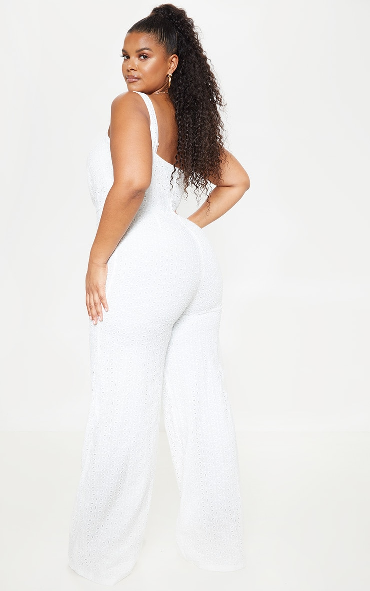 Plus White Broderie Anglaise Wide Leg Jumpsuit 2
