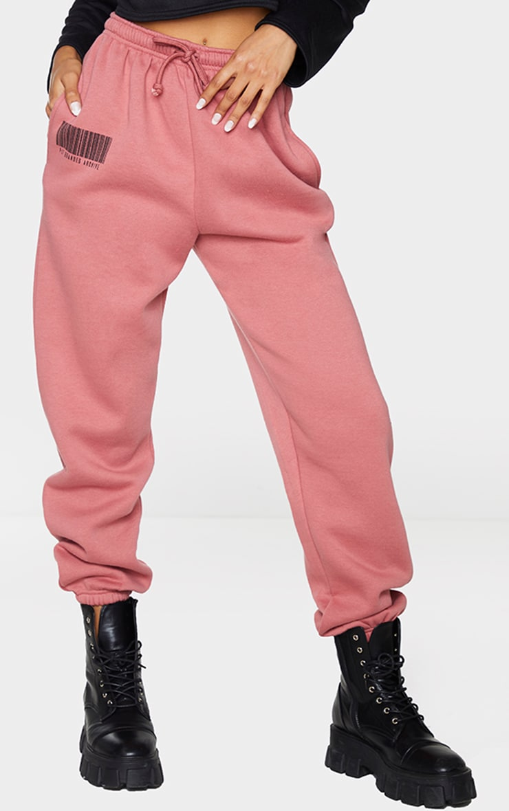 PRETTYLITTLETHING Dusty Rose Barcode Joggers 2