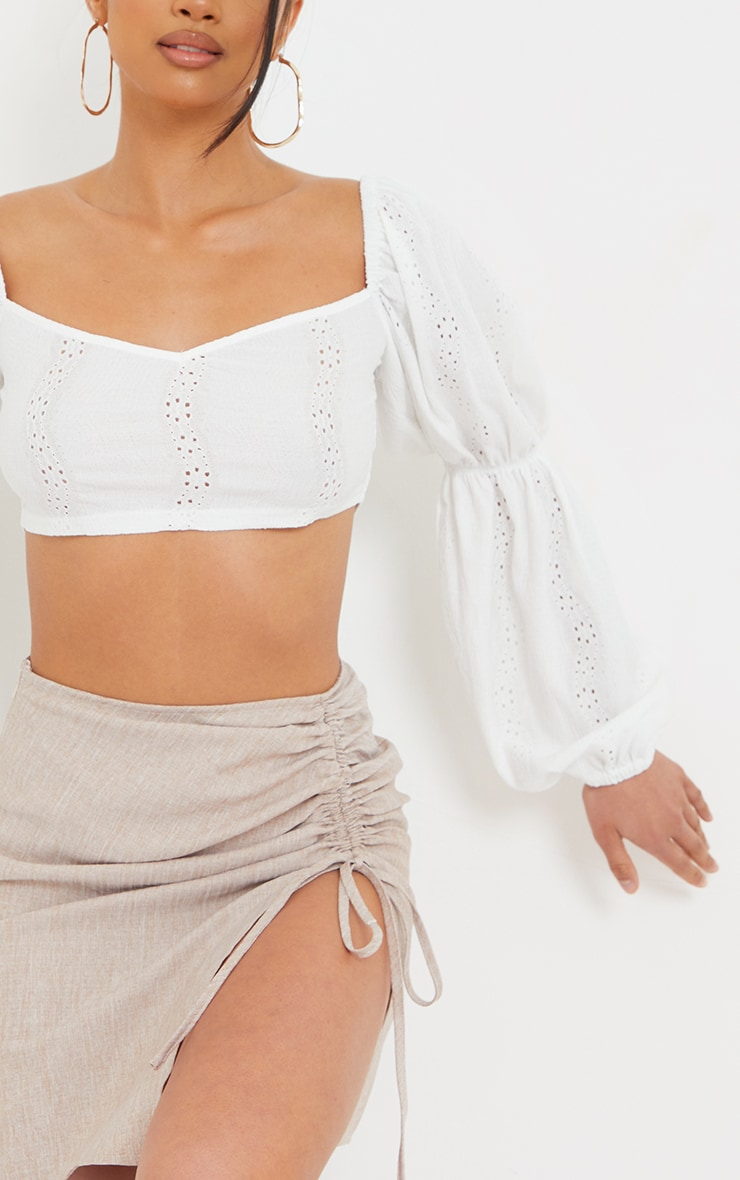 Petite White Broderie Anglaise Balloon Sleeve Cropped Blouse 4