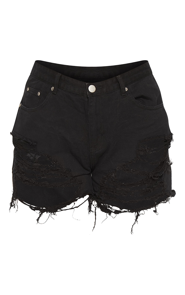 Plus Black Extreme Ripped Mom Denim Shorts  4