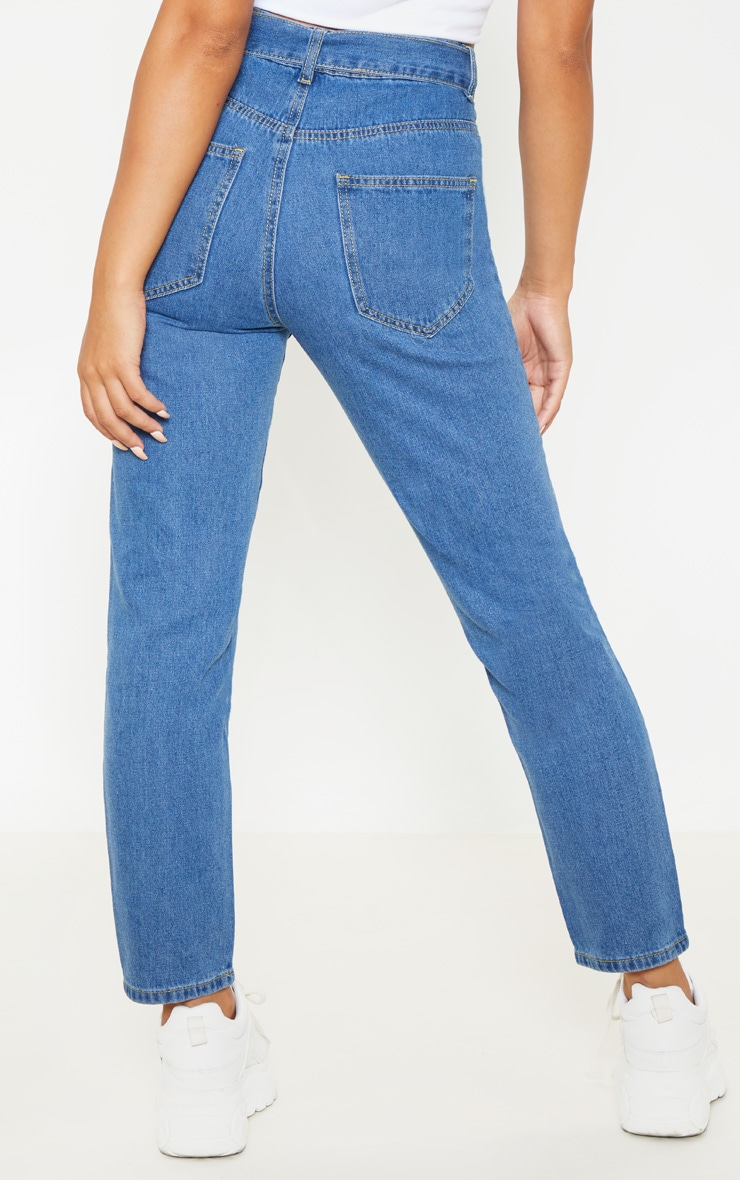 Petite Mid Wash Straight Leg Tie Belted Jeans 4