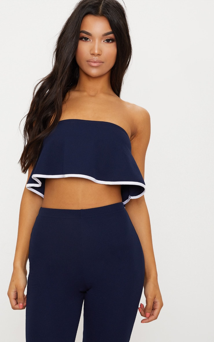 Navy Frill Detail Bandeau Top