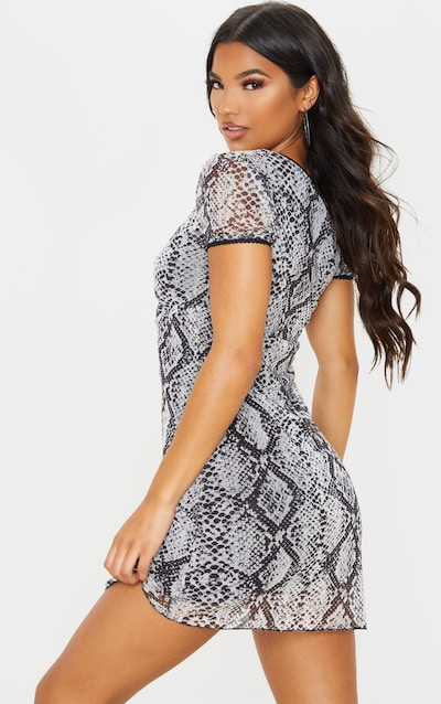 Grey Snake Print Mesh Ruched Bodycon Dress