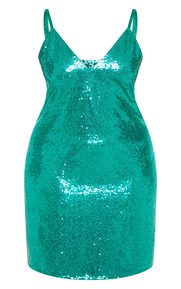 Plus Bright Green Sequin Strappy Swing Dress 3