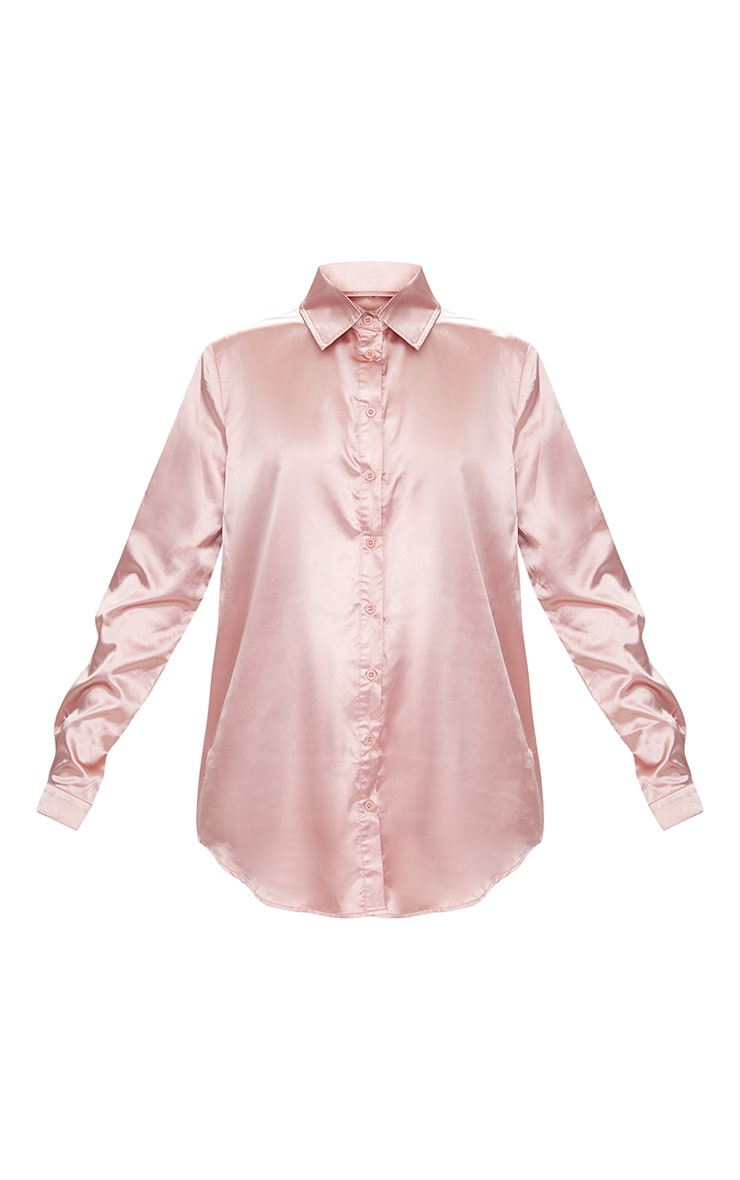 Rose Gold Satin Button Front Shirt  3