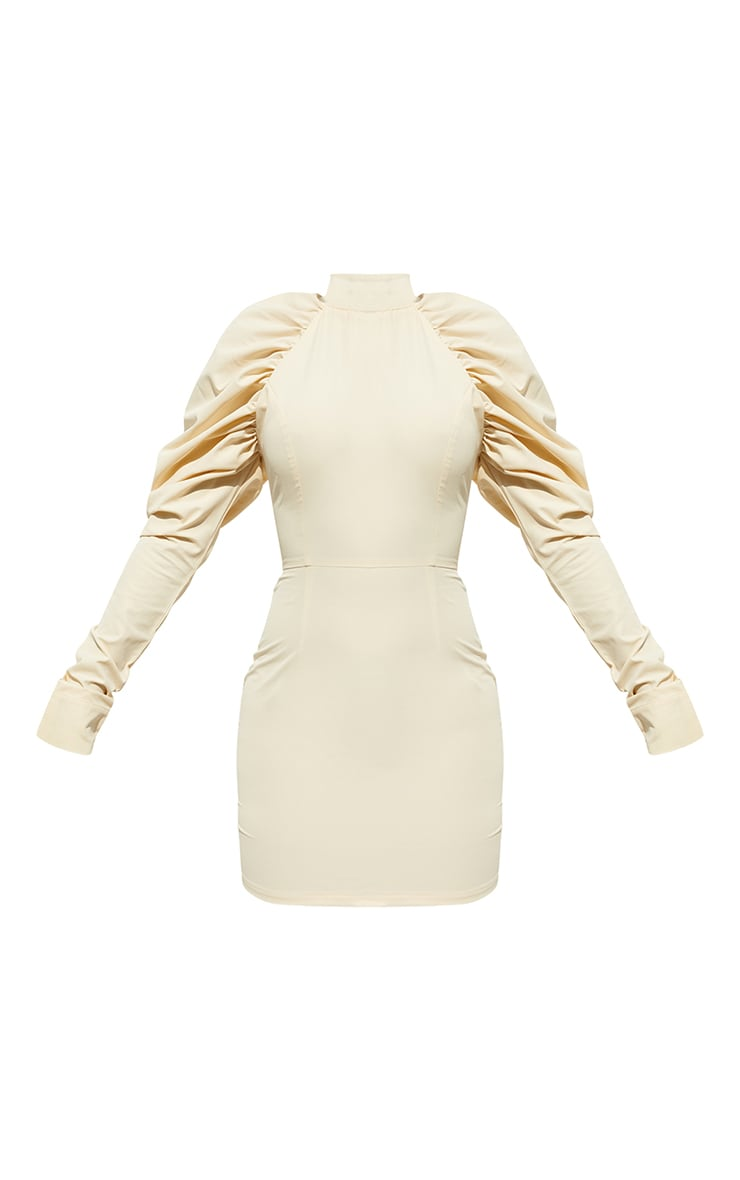 Cream  Woven Ruched Puff Sleeve High Neck Bodycon Dress 5