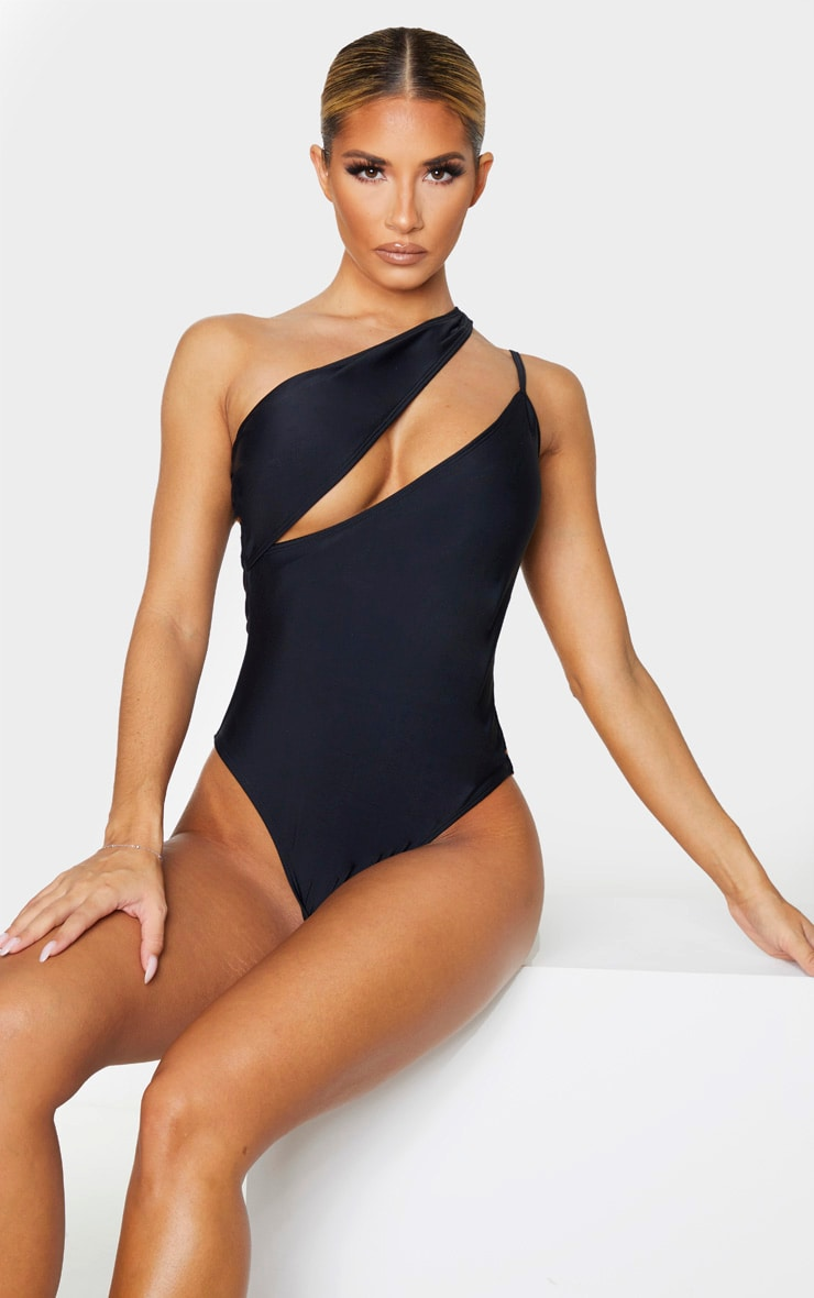 Black Asymmetric Double Strap Swimsuit 1