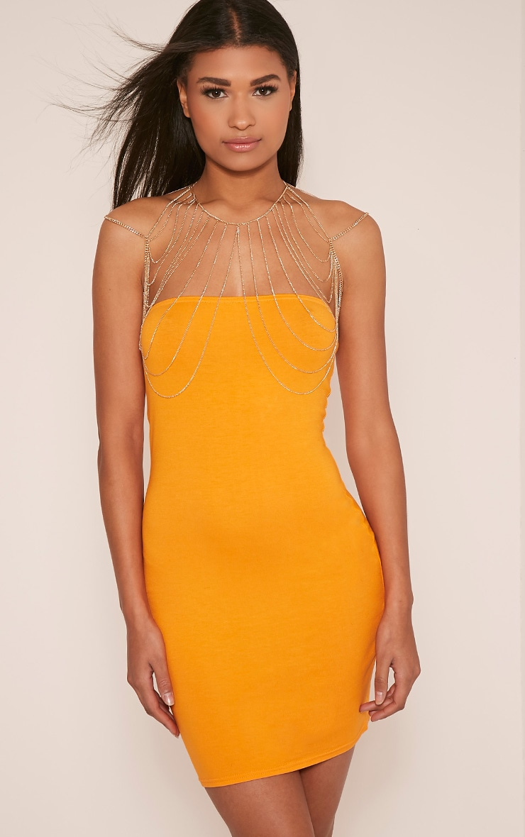 Lorrie Bright Orange Bandeau Bodycon Dress 2
