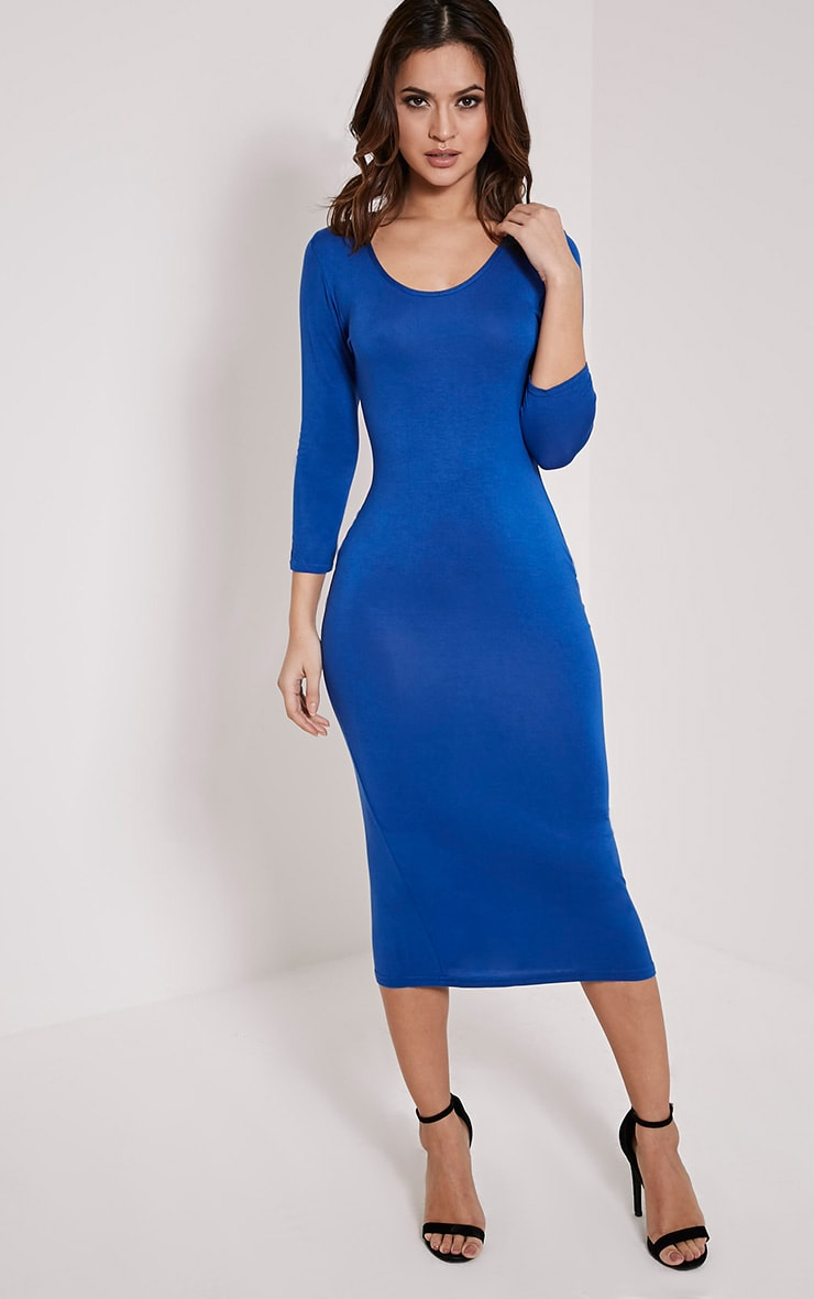 Basic Cobalt Long Sleeve Midi Dress 1