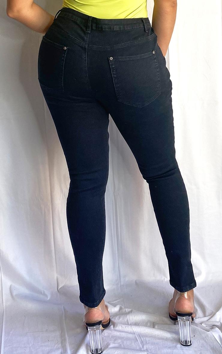 Plus Black Split Front Skinny Jean 2