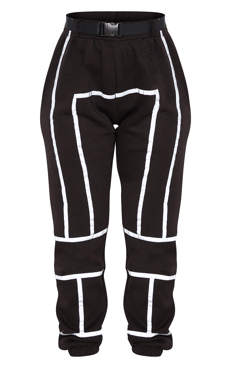 Black Belted Reflective Tape Cuffed Jogger 3