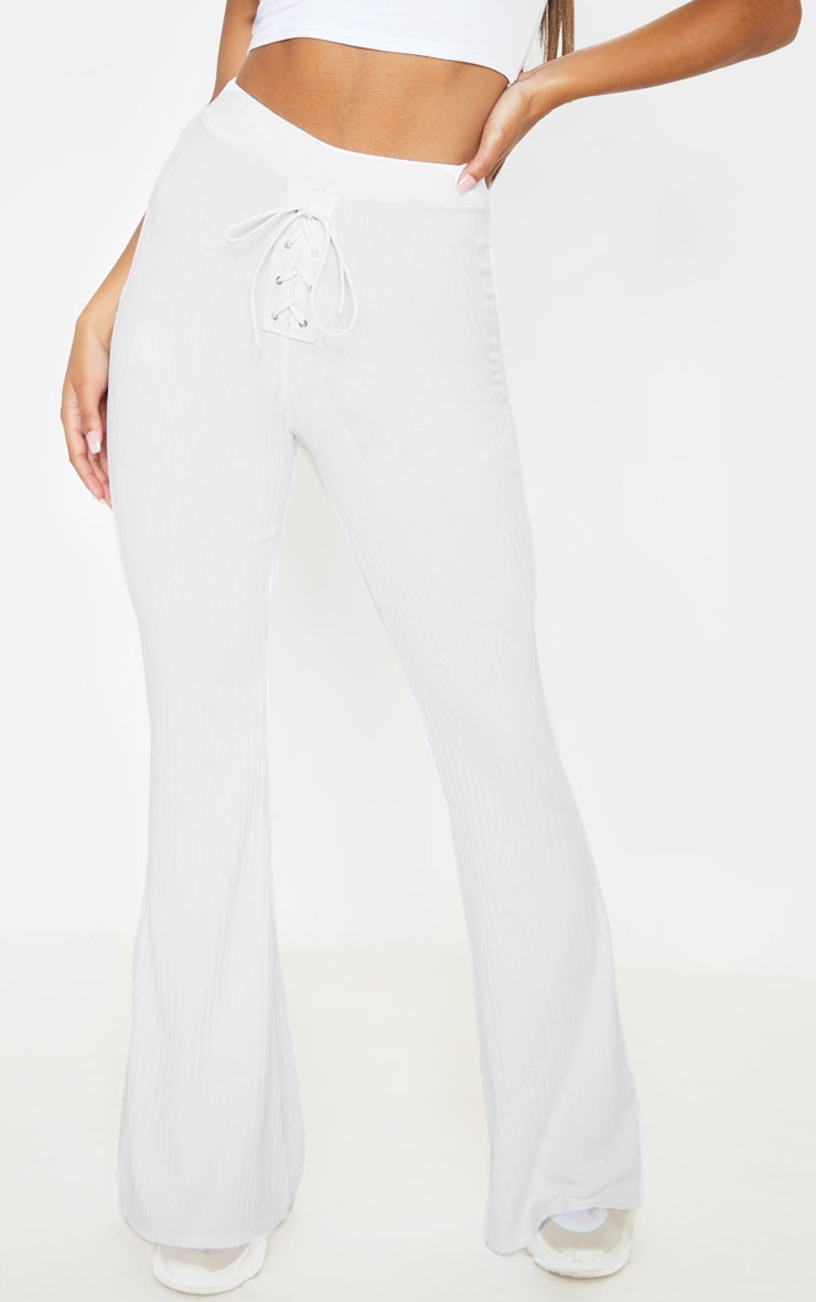 White Rib Lace Up Detail High Waisted Flare Leg Pants 2