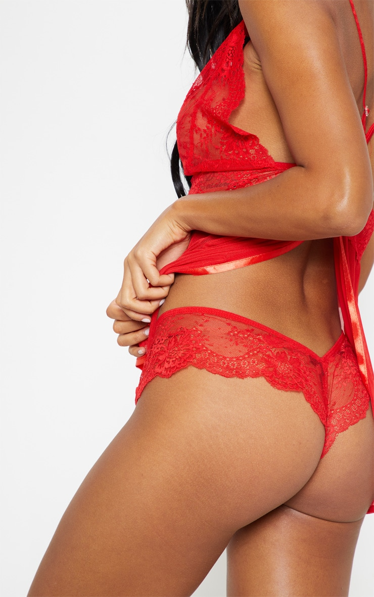 Red Sheer Lace Babydoll Set 5