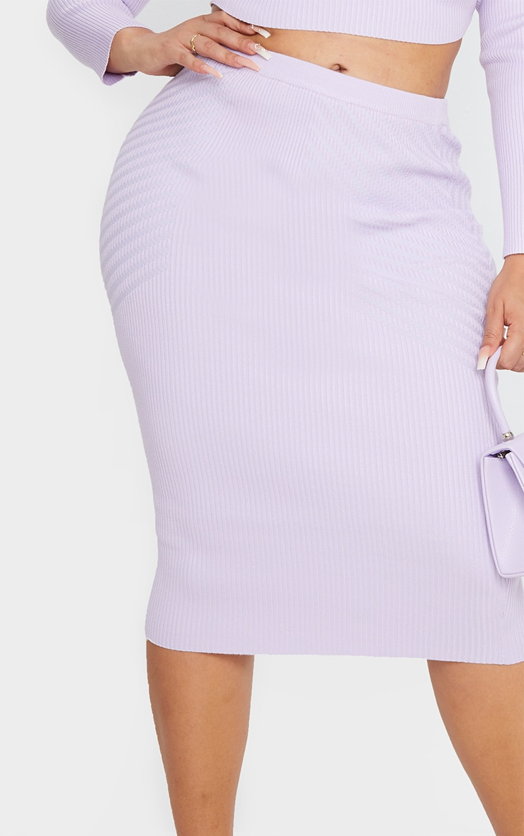 Plus Lilac Knit Mid Skirt 4