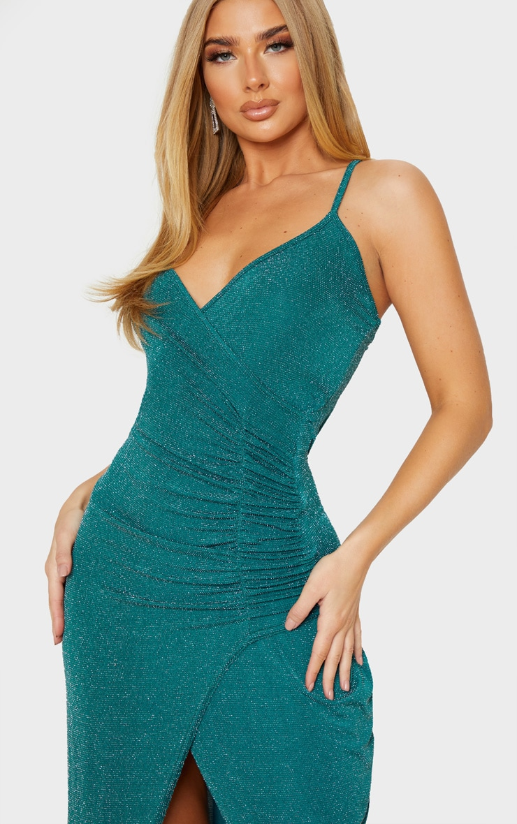 Emerald Green Strappy Textured Glitter Plunge Ruched Maxi Dress 5