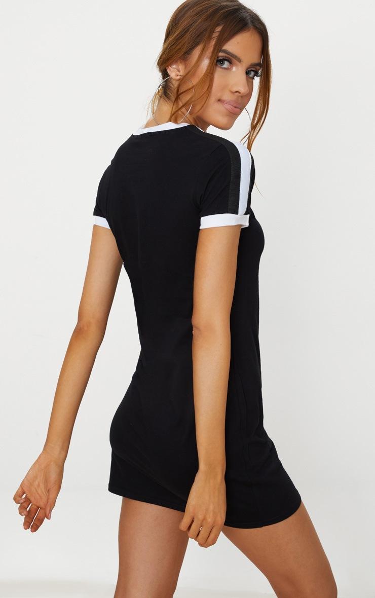 Black Triple Stripe Shoulder T Shirt Dress 2