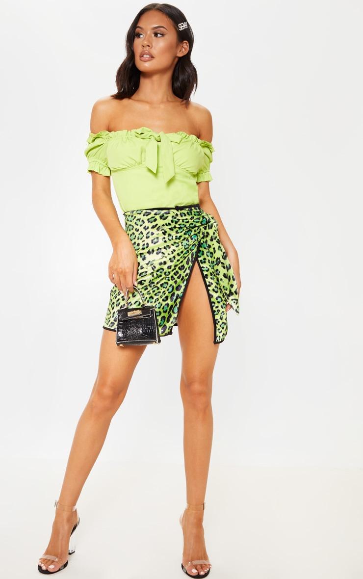 Lime Leopard Printed Velvet Tie Mini Skirt 5
