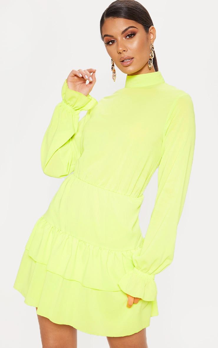 Robe droite plissée vert citron à col montant 1