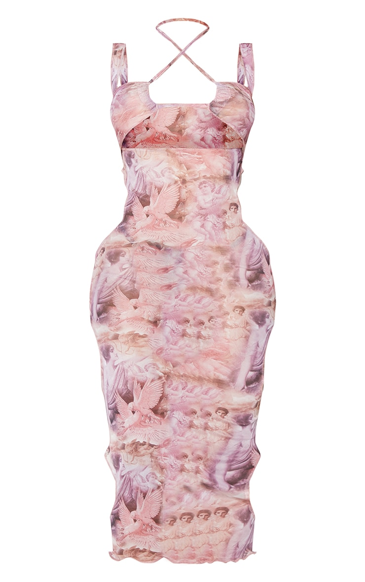 Shape Pink Renaissance Print Sheer Mesh Cut Out Detail Midaxi Dress 5