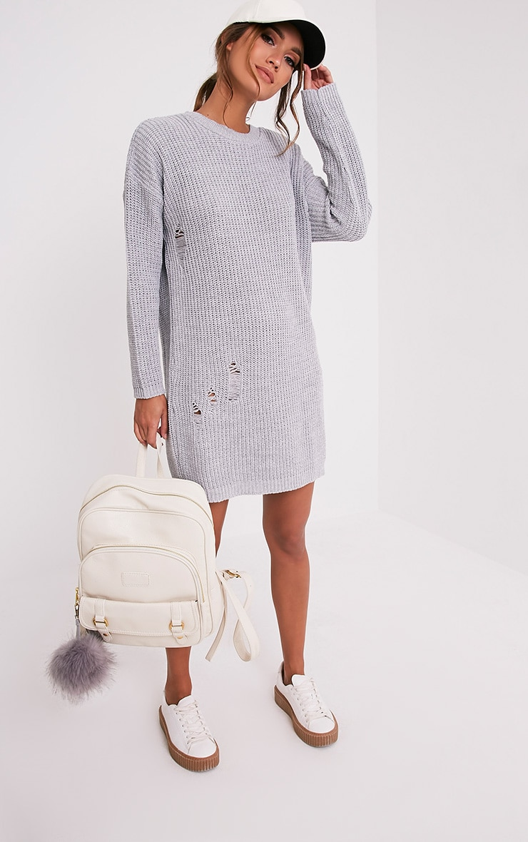 Nico Distressed Grey Oversized Knitted  Dress 5