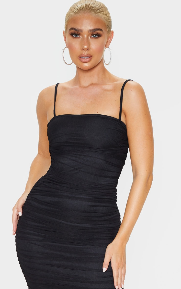 Black Strappy Mesh Ruched Midaxi Dress 5