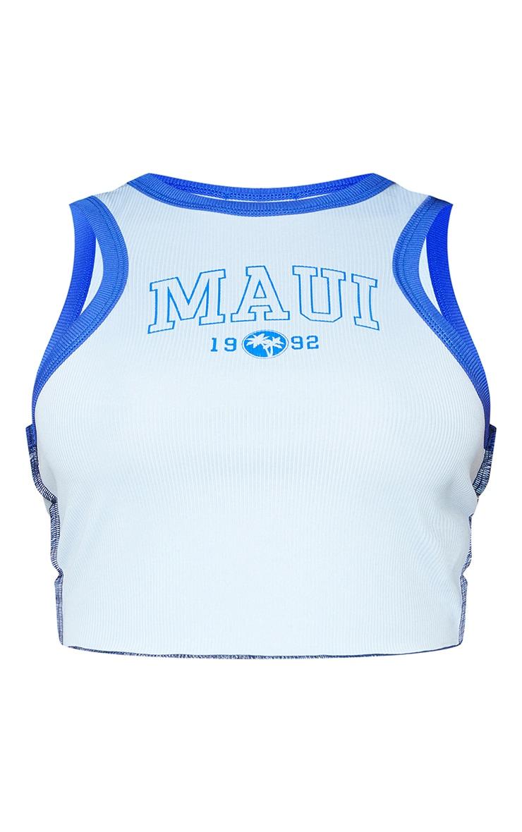 Baby Blue Maui Print Rib Overlock Seam Crop Racer Vest 5