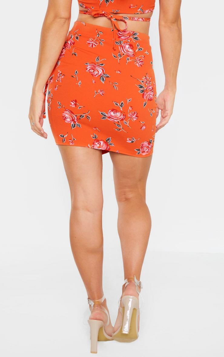 Orange Floral Print Crepe Floral Print Wrap Detail Skirt 4