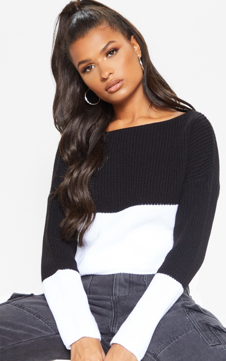 Black Monochrome Colour Block Jumper 5