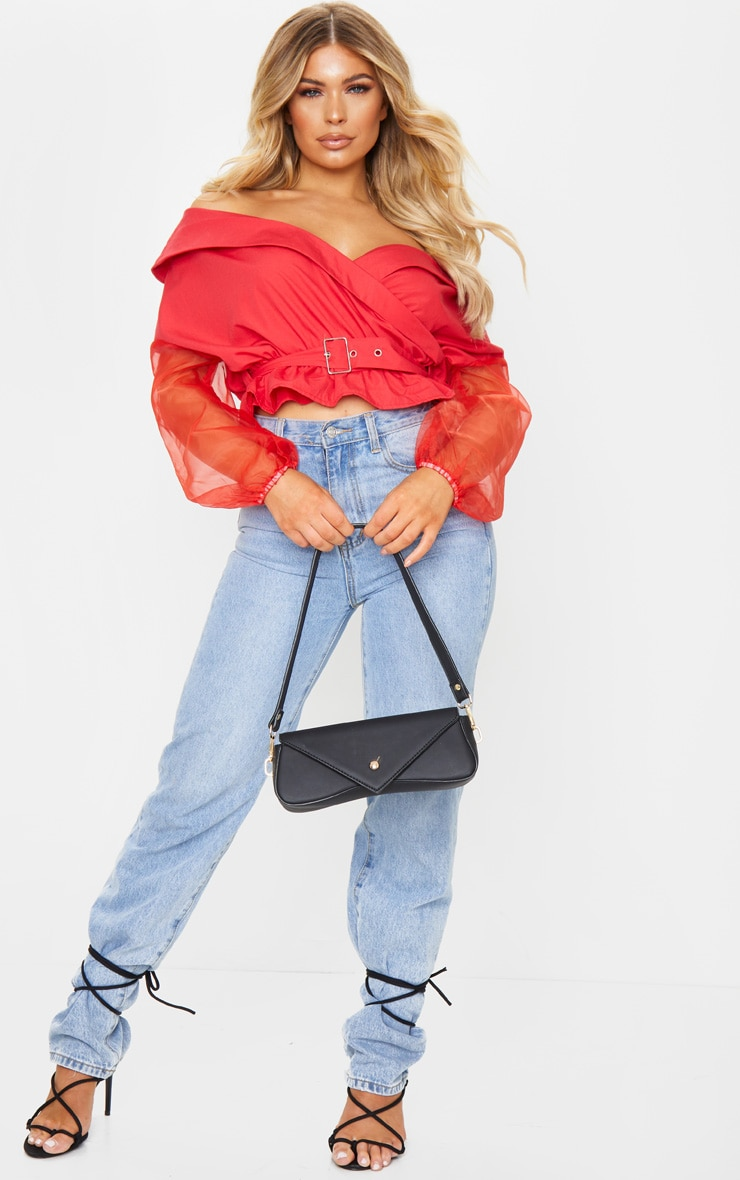 Red Bardot Organza Sleeve Crop Top 3