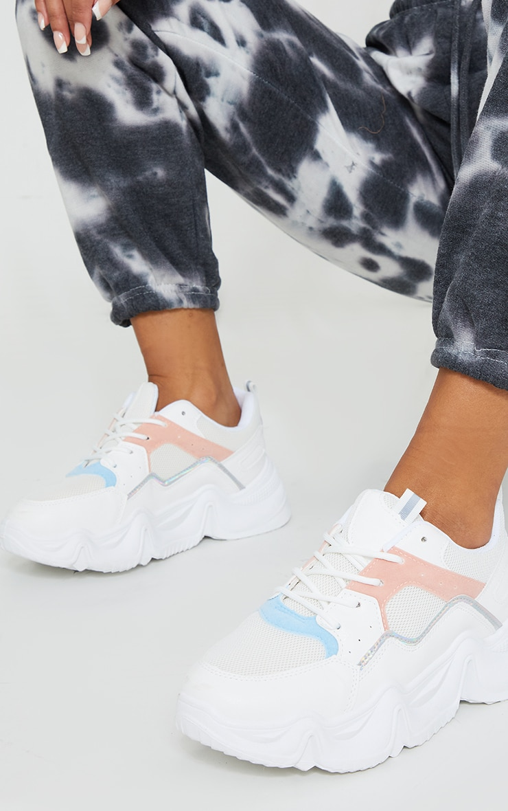 White Chunky Sole Mesh Panel Trainers 1