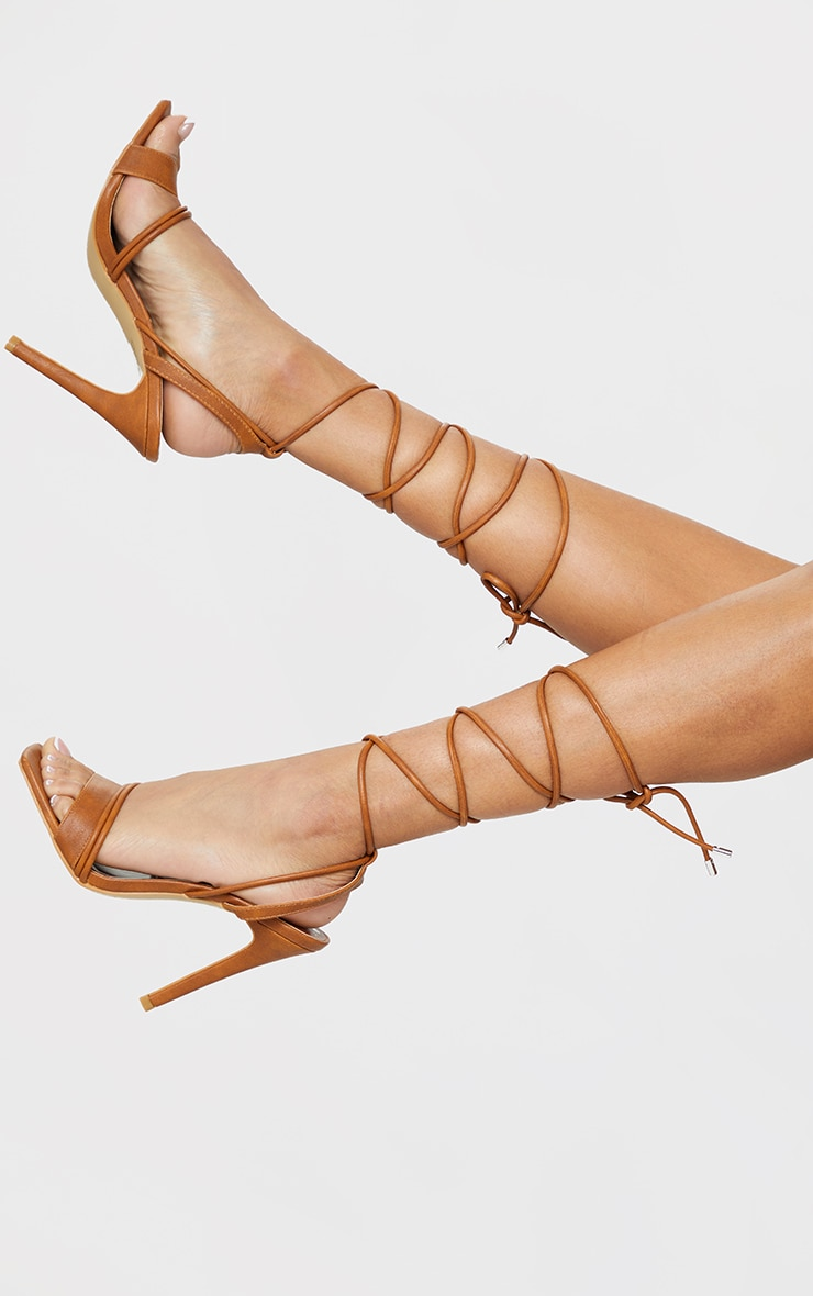 Tan PU Square Toe Lace Up High Heeled Sandals 2