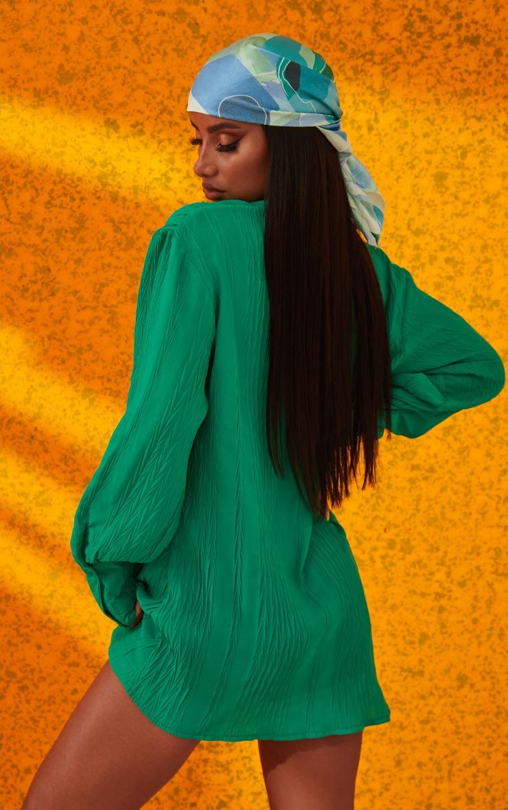 Green Textured Gathered Detail Long Sleeve Shirt Dress 3