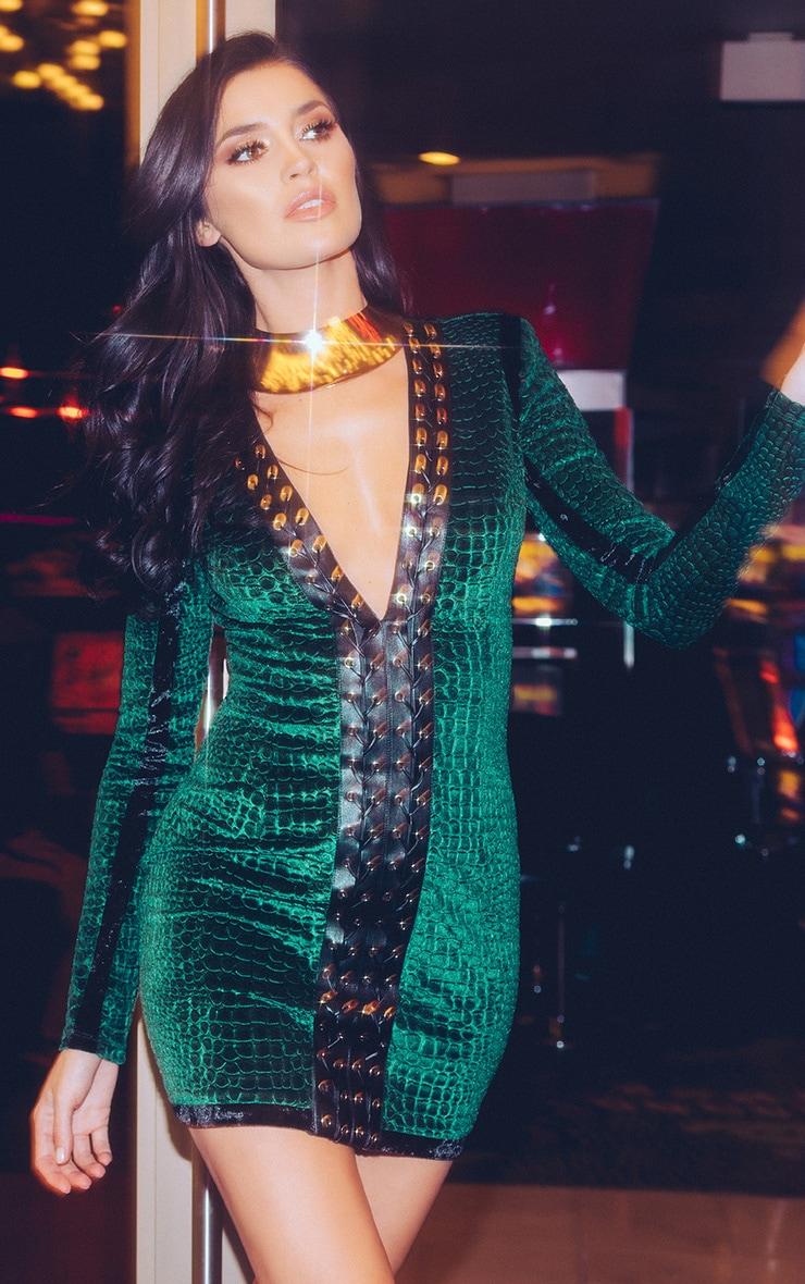 Khelsi Emerald Green Premium Eyelet Velvet Bodycon Dress 1